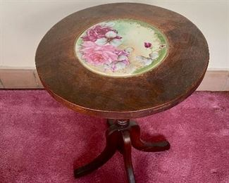 Small antique table/stand with inlayed hand painted roses porcelain plaque
