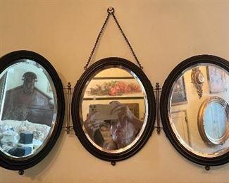 Antique tri-way hanging oval shaving mirror