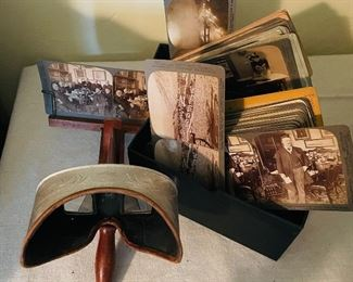 Stereoscope viewer and two boxes of stereoscope cards