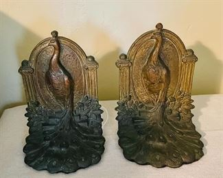Antique cast metal peacock Bird of Paradise bookends by Weidlich  Bros. WB 641