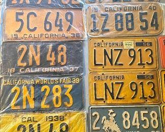 Vintage car license plates