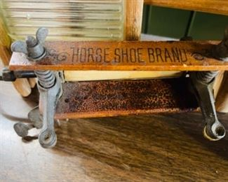 "Rare ""Horse Shoe Brand"" miniature child's clothes wringer"