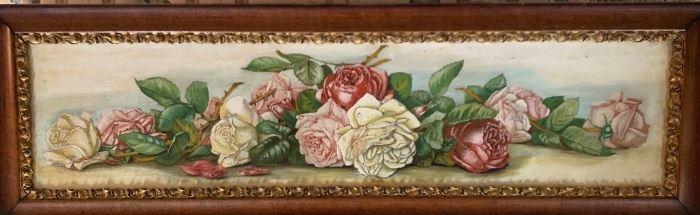 Original yard long oil painting on canvas, c1900. in the Paul De Longpré style