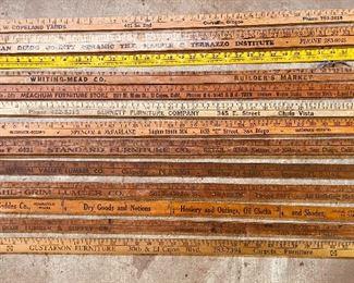 """Vintage 36"""" advertising measuring sticks"""