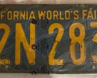 1939 California World's Fair vehicle license plate