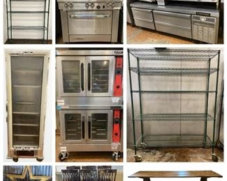 Kitchen Appliances & Dining Furniture, shelves, chairs, table, star, tools, boat motor, cups, etc.