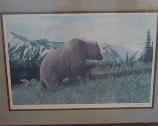 Signed and numbered print of a Kodiak grizzly - $90 OBO.