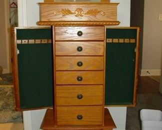 Beautiful oak jewelry cabinet.  $90.  Excellent condition!