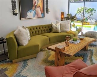 Mid Century Modern Green Velvet Sofa with Gold Base. Excellent Condition.  - $2,400 Retail Price: 4,300