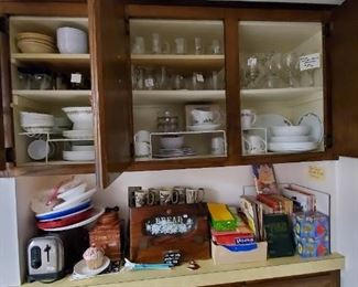Corelle Crazy Daisy Spring Blossom Dishes , Corelle Holly Dishes sold seperately  .  Bread box, toaster, glassware, cookbooks