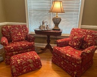 Red Floral Upholstered Chairs & Ottoman;  Mahogany Flip Top Table bt Franklin 33L x 16D x30H, Twi resin Table Lamps