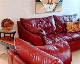 """Red/Burgundy leather sofa & loveseat, likely the most comfortable you'll sit on. Loveseat: 33"""" high x 39 """" deep x 63"""" wide. Sofa: 33"""" high x 39"""" deep x 87.5"""" wide."""