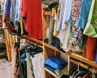 Clothes; men's and women's. Multiple sizes, many new with tags. Pants, shorts, blouses, skirts, scarves, hats, belts, socks, shoes...