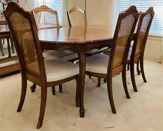 8.  American traditional dining table • 29high 74wide 40deep • One arm chair, five side chair • 42high 20wide 21deep • $395