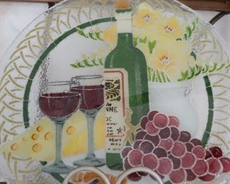 Lots of glass painted trays