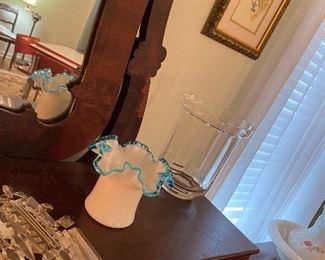 Blue ruffle fountain glassware