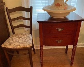 Antique picture and wash basin
