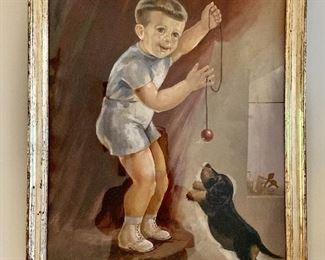 """$250  Painting of boy with puppy, signed Fielitz upper left. 30"""" H x 21.25"""" W"""