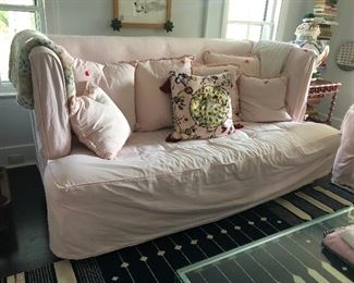 This is amazing and big & comfy - shown with fitted custom pink slipcover