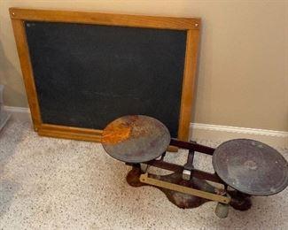Antique slate chalkboard, scale