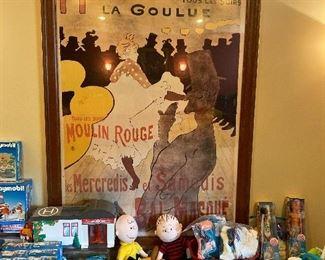 Moulin Rouge framed print, Henri de Toulouse-Lautrec. Playmobil medical sets, Barbie, Charlie Brown and Linus, Vintage Fischer-Price