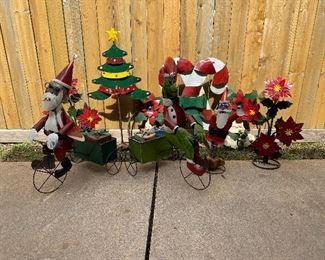 Holiday metal yard art = Santa & The Grinch on a bike, Christmas Tree,  Candy Canes, Poinsettias & single Santa
