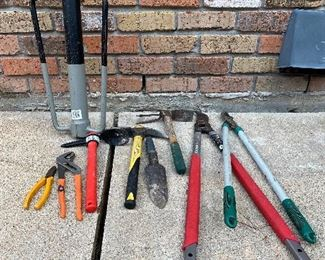 Channel lock pliers, ax pics, hand shovel, tree branch trimmers