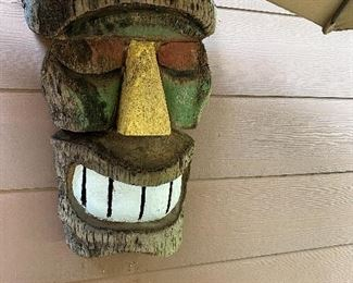 Carved & painted LARGE wood mask