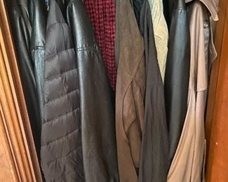 Men's leather, cloth, nylon jackets and trench coats