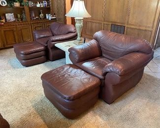 Brown leather chair and ottoman *we have two