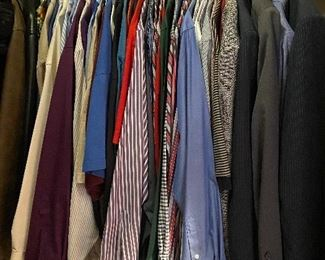 Men's long sleeve dress shirts,  suit jackets and two piece suits