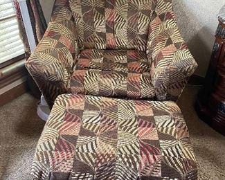 Cloth chair & ottoman