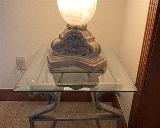 Glass top & wrought-iron side table *we have two