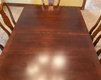 Close up of Queen Anne dining room table