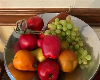Heavy stainless bowl (2 others in smaller sizes) w/faux fruit