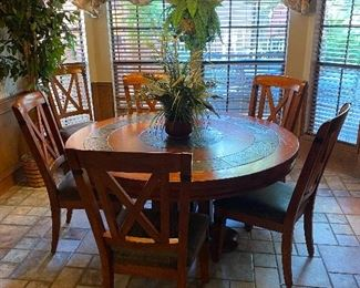 LARGE solid wood = heavy round breakfast/dining table with marble inlay & 6 chairs
