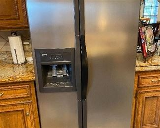 Stainless Kenmore Elite side by side refrigerator w/ice maker