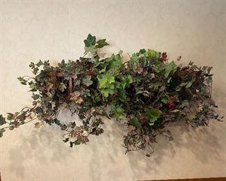Wrought-iron faux ivy hanging basket