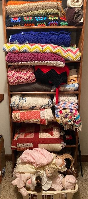 Afghans, blankets, quilts, dolls