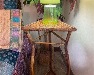 Triangle top wicker plant stand