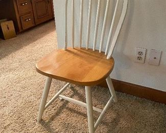 White & brown wood slat side chair *we have one