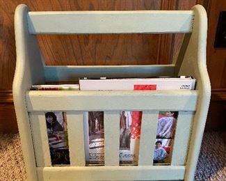 Wood slat magazine holder