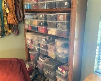 Many containers of individual yarn