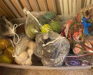 Bin of yarn sold in bundles