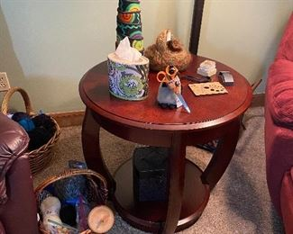 Crafts, yarn, & decor + matching round side table