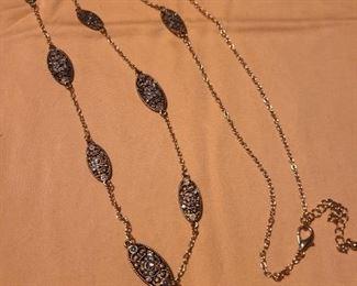 Rhinestone vintage long chain necklace