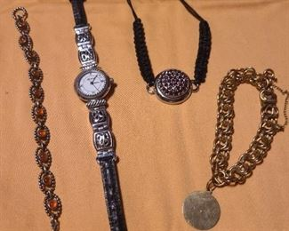 Brighton watch, stone bracelet, charm bracelet