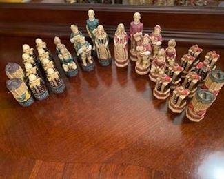 Studio Anne Carlton Shakespeare & The Globe Chess Set ~ no board *hand painted