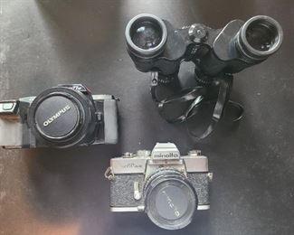 Olympus & Minolta cameras + Binoculars