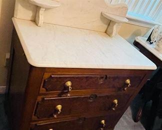 #2 - NOW $240 was $295 • Victorian walnut burlwood Carrera marble top vanity• 40high 34wide 20 deep